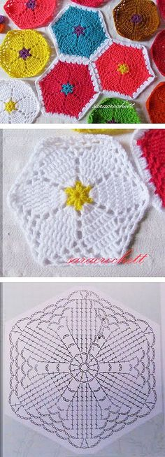 FREE Hexagonal Floral crochet pattern - Pinned by intheloopcrafts.blogspot.co.uk