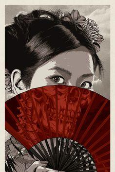 The Art Of Animation — Anthony Petrie - . Japanese Tattoo Art, Japanese Drawings, Geisha Kunst, Geisha Art, Japan Illustration, Fantasy Kunst, Dark Fantasy Art, Geisha Drawing, Graphics