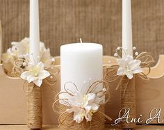 Rustic Wedding Candles Rustic Unity Candle Set by HappyWeddingArt