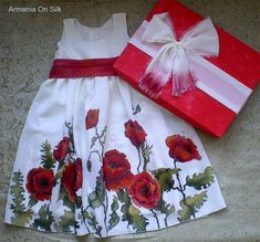 Items similar to Red Poppies hand painted pure silk dress for girls. Red and green floral pattern on white natural silk dress. Made to order. on Etsy Strawberry Color, Hand Painted Sarees, Poppy Dress, Dress Red, White Silk Dress, Painted Clothes, Silk Art, Red Poppies, Fabric Painting