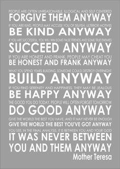 Mother Teresa - Do It Anyway - Word Typography Words Inspiring Quote Poem Art