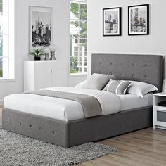 Verona Fabric Storage Ottoman Bed with Optional Mattress Upholstered Bed Frame, Upholstered Ottoman, Upholstered Platform Bed, Headboard And Footboard, Fabric Storage Ottoman, Leather Headboard, Bed Frame With Storage, Wooden Bed Frames, Ottoman Bed