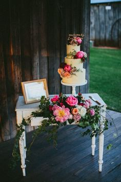 Cake Table Flowers Peony Peonies Sign Whimsical Barn Wedding Australia throughthewoodswe...