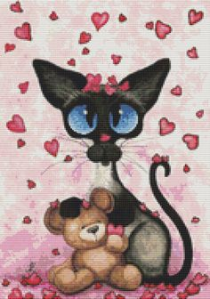 Modern cat cross stitch kit by AmyLyn Bihrle by GeckoRouge on Etsy