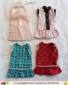 Four FAERIE GLEN dresses. Top left will fit Pedigree Sindy. Others will fit Patch. (Photo from closed eBay auction).