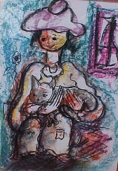 Girl with her cat - Claerhout South African Artists, Like Animals, My World, Art Pieces, Arts And Crafts, Cats, Anime, Painting, Passion