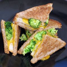 double-decker broccoli and cheddar grilled cheese on wheat