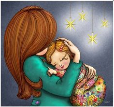 mamma 5 O Mother Daughter Art, Mother Art, Mother And Child, Daddy Daughter, Good Night Greetings, I Love My Son, Kids Education, Artist Art, Baby Wearing