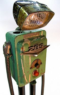 (sad!) even robots get the blues, found object metal art junk sculpture by ultrajunk