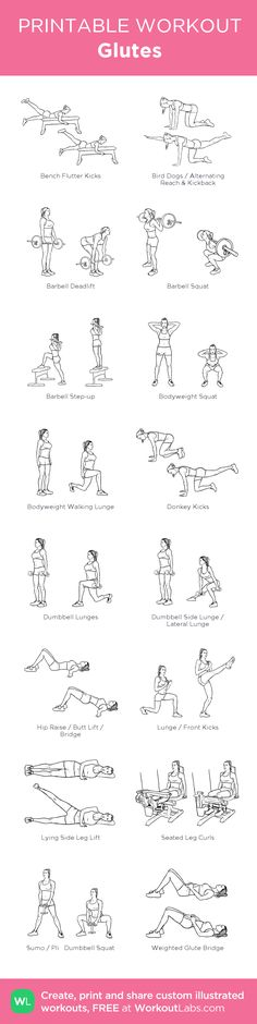 Glutes:my visual workout created at WorkoutLabs.com • Click through to customize and download as a FREE PDF! #customworkout