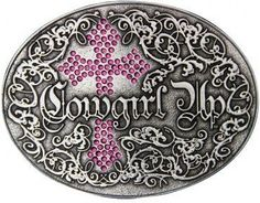 """(MSA202RTS) """"Cowgirl Up"""" Western Belt Buckle with Pink Rhinestone Gothic Cross by Montana Silversmiths"""