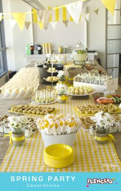 spring yellow party – beautiful drink and appetizer tablescape. picnic party inspiration spring yellow party – beautiful drink and appetizer tablescape. White Party Decorations, Picnic Decorations, Birthday Decorations, Yellow Birthday Parties, Lemon Party, Deco Retro, Baby Yellow, Baby Shower Yellow, Yellow Nursery