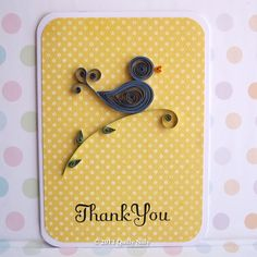Paper Quilled Thank You Card Blue Bird por QuillyNilly en Etsy
