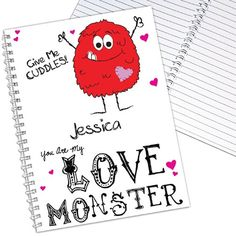 Personalised Love Monster Notebook  from www.personalisedweddinggifts.co.uk :: ONLY £6.99