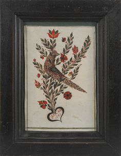 Johann Adam Eyer (Bucks County, Pennsylvania, active 1780-1830), watercolor and ink on paper fraktur bookplate inscribed John Nold 1823 with...