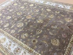 10-X-14-Brown-Tabriz-Wool-Silk-Flowers-Persian-Oriental-Area-Rug-Hand-Knotted