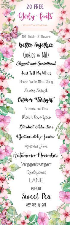 20 Free Cute Girly Fonts | Starsunflower Studio Blog
