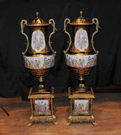 Pair XL Dresden German Porcelain Urns on Stands Vases