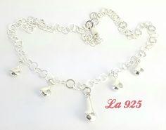 $420.00  Hermoso collar de gotas 5 gotas infladas lisas Largo de 40 cm Plata ley 925 Pieza única