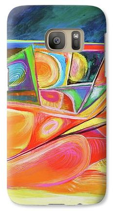 Lines Curves Galaxy S7 Case featuring the painting F.r.wave by Expressionistart studio Priscilla Batzell