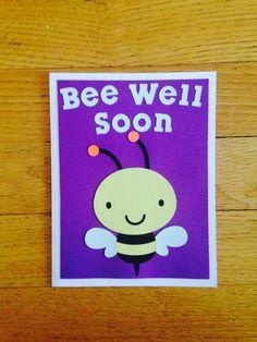 """Bee Sympathy Card """"Bee Well Soon"""" - Get Well Soon Card, Sympathy Card, Feel Better Card, Pun Card, Cute Greeting Card"""