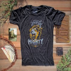 Merciful and Mighty.Design is hand illustrated. Vintage Inspired Christian Clothing. ++Shop MercyRoadApparel.com ++