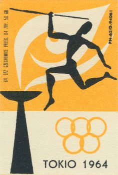 Polish Olympic matchbox labels. The illustrations were done for the Tokyo Olympic Games in 1964. Tokio is the Polish spelling. It's hard to imagine such beautiful labels being printed so small.