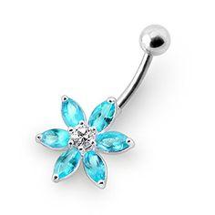 Piercing-Schmuck Leichte blaue Kristallstein Fantasie Blume Silber Nabelring - http://schmuckhaus.online/chennai-jewellery/hellblau-piercing-schmuck-edelstein-fantasie-2