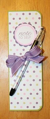 """Paper Perfect Designs: Skinny Notepad Tutorial ...put note like """"you are loved"""" on outside, notepads size of shoebox bottoms? Love the pen!"""