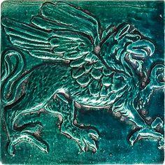 "Griffin, Left-Facing, Color: Blue Green, 6X6"" Decorative Tile"