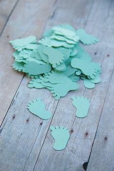 Mint Green Feet Confetti ~ Baby Feet ~ Toes ~ Baby Shower Confetti ~ Invitation Confetti, Table Decor