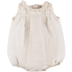 Pili Carrera Sleeveless Lace-Trim Linen Bubble Playsuit ($182) ❤ liked on Polyvore featuring ivory and kids baby girls