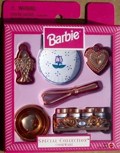 BARBIE SPECIAL COLLECTION COOKWARE SPICE RACK BOWL MOLDS PLATE WHISK