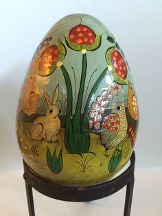 Vtg Hand Painted Paper PAPIER MACHE Egg Ser-Mel Tonala MEXICAN Folk Art Signed