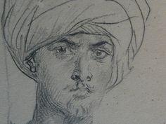 CHASSERIAU Théodore,1846 - Arabe coiffé d'un Turban, debout contre un Arbre - drawing - Détail 13