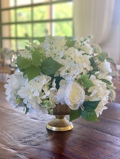 (10) White and green silk arrangement in gold pedestal bowl. Actual flowers may vary. Silk Floral Arrangements, Green Silk, Pedestal, Table Decorations, Flowers, Gold, Closet, Home Decor, Silk Flower Arrangements