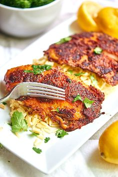 This blackened tilapia recipe is not for the weak! It's spicy, the flavors are bold, and the lemon juice brightens the whole thing up.