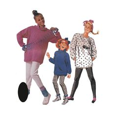 Girls Easy 80s Flash Dance Outfit Stirrup Pants and Oversized Top McCalls UNCUT Sewing Pattern 2835 Size Small 7 Breast 26 Neckline Options