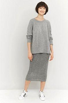 Sparkle & Fade Silver Lurex Midi Skirt