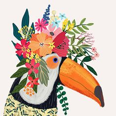 Items similar to Toucan with Floral Crown Art Print – Funny Decoration Gift – Cute Room Decor – Poster by Mia Charro on Etsy Flower On Head, Flower Crowns, Baby Flower, Crown Art, Crown Decor, Photos Booth, Cute Room Decor, Guache, Bird Illustration