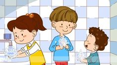 Wash your hands. - Let's eat pizza! (Easy Dialogue) - English video for . Kids English, English Class, English Lessons, English Grammar, Teaching English, Learn English, Small Movie, Toddler Videos, Self Help Skills
