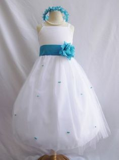 Flower Girl Dress WHITE/Turquoise RB3 Wedding Children Easter Bridesmaid Communion Yellow Turquoise White Silver Red Cherry Purple Plum