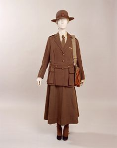 "1918 Women's Auxillary Army Corps uniform, supplied by Geo. B Ashford Ltd of Birmingham, and the khaki felt hat is labelled ""Woodrow, Piccadilly, London"". It was worn by Olive K Jordan, whose rank was Acting Administrator. Gallery of Costume, Manchester."