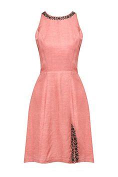Blush Pink Hand Embroidered Side Slit Dress