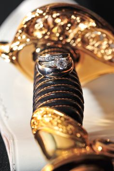 Marine Corps Wedding, our rings on this sword