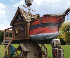 Yarrrr matey, if ye be cravin' an adventure on the high seas but be land stricken from a case of the scurvy, hop aboard this here Pirate Ship Play House. Built from rugged cedar and redwood, this twenty three foot long play house is the ultimate gift for kids.