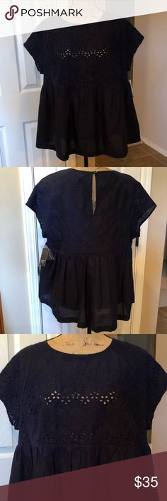 Embroidered Navy Blue Blouse BNWT! Beautifully embroiled navy blue blouse with keyhole opening in the back. 100% Cotton (body) 100% Polyester (embroidered). New condition! Crown & Ivy Tops Blouses