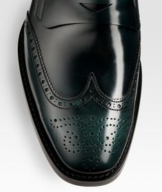 244a851cef5813 Prada Wingtip Penny Loafers in Black for Men - Lyst Mens Shoes Boots