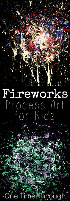 Victoria Day and Memorial Day Fireworks Painting - One Time Through A fun open-ended art project inspired by fireworks for kids of all ages. Perfect for Canada Day, the Queen's Birthday, Memorial Day, July or Victoria Day! {One Time Memorial Day Fireworks, Fireworks Craft For Kids, Canada Day Fireworks, Fireworks Art, Kindergarten Art, Preschool Art, Firework Painting, Firework Drawing, Canada Day Crafts