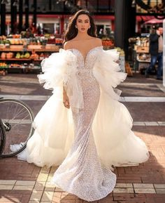 """LagosStylist on Instagram: """"Studded beauty with ruffles dramatic sleeves and train by #hanaofficialedition, elegant and chic . . . . #details #couturedesign #wedding…"""" Event Dresses, Ball Dresses, Dream Wedding Dresses, Bridal Dresses, Fantasy Gowns, Beautiful Gowns, Dream Dress, Pretty Dresses, Marie"""
